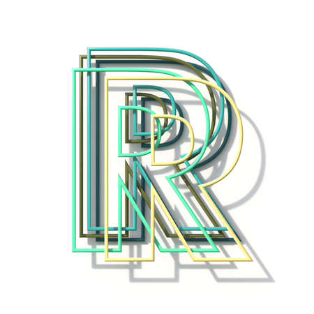 Three colors line font Letter R 3D rendering illustration isolated on white background