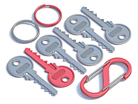 Door keys, key rings and carabiner 3D render illustration isolated on white background Banco de Imagens - 131712979