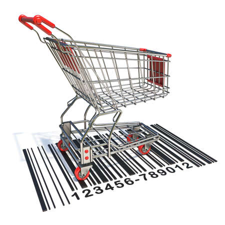 Shopping cart on barcode label 3D render illustration isolated on white background Stockfoto