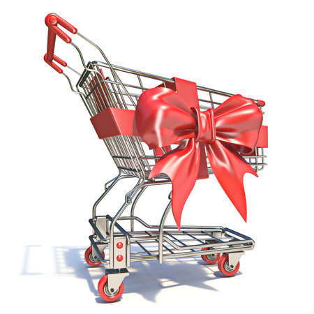 Shopping cart with red ribbon 3D render illustration isolated on white background