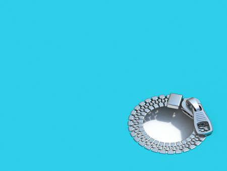 Circle zipper hole 3D render illustration isolated on blue background Stock Photo
