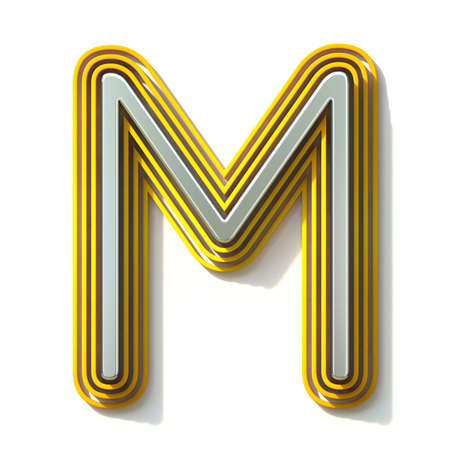 Yellow outlined font letter M 3D render illustration isolated on white background Stock Illustration - 131713549