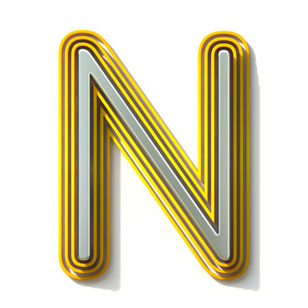 Yellow outlined font letter N 3D render illustration isolated on white background