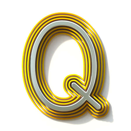 Yellow outlined font letter Q 3D render illustration isolated on white background Stok Fotoğraf