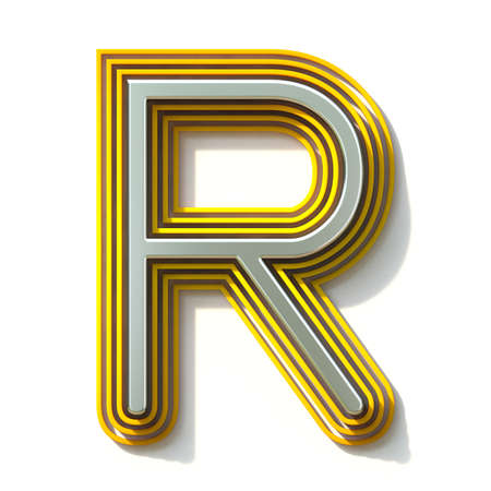Yellow outlined font letter R 3D render illustration isolated on white background