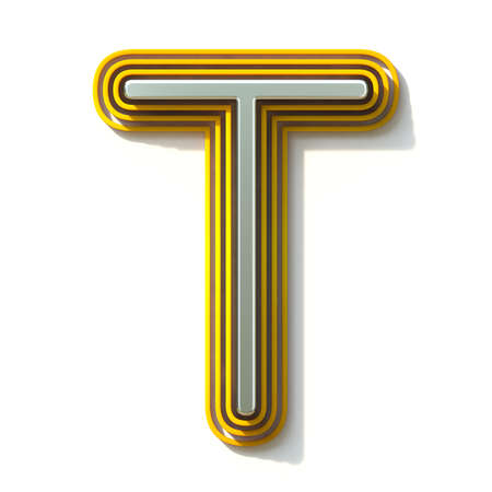 Yellow outlined font letter T 3D render illustration isolated on white background