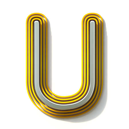 Yellow outlined font letter U 3D render illustration isolated on white background Stock Photo