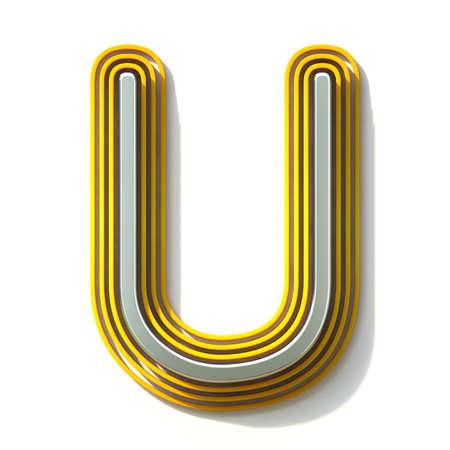 Yellow outlined font letter U 3D render illustration isolated on white background Banco de Imagens