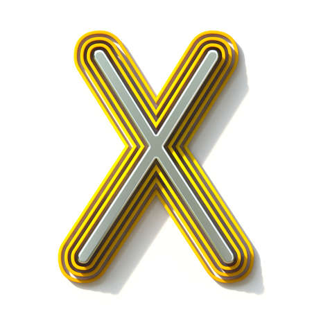 Yellow outlined font letter X 3D render illustration isolated on white background