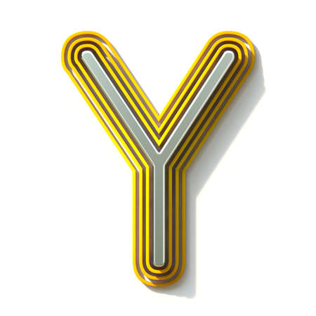 Yellow outlined font letter Y 3D render illustration isolated on white background
