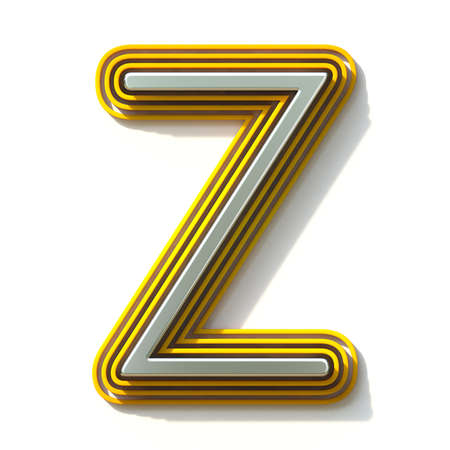 Yellow outlined font letter Z 3D render illustration isolated on white background