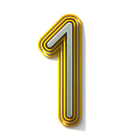 Yellow outlined font Number 1 ONE 3D render illustration isolated on white background Banco de Imagens