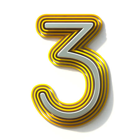 Yellow outlined font Number 3 THREE 3D render illustration isolated on white background