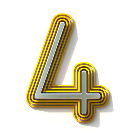 Yellow outlined font Number 4 FOUR 3D render illustration isolated on white background