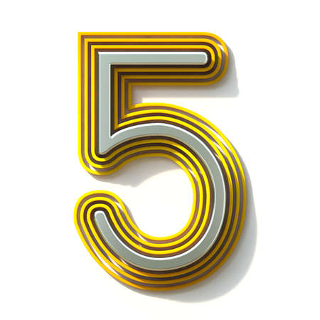 Yellow outlined font Number 5 FIVE 3D render illustration isolated on white background