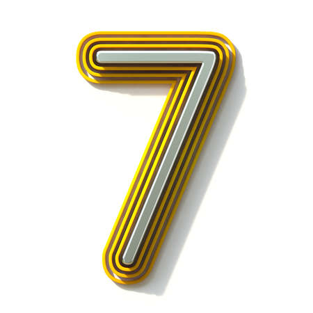 Yellow outlined font Number 7 SEVEN 3D render illustration isolated on white background