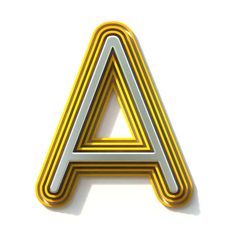 Yellow outlined font letter A 3D render illustration isolated on white background