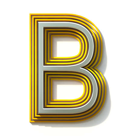 Yellow outlined font letter B 3D render illustration isolated on white background