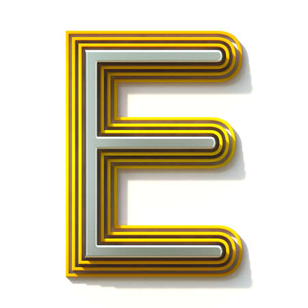 Yellow outlined font letter E 3D render illustration isolated on white background Stock Photo