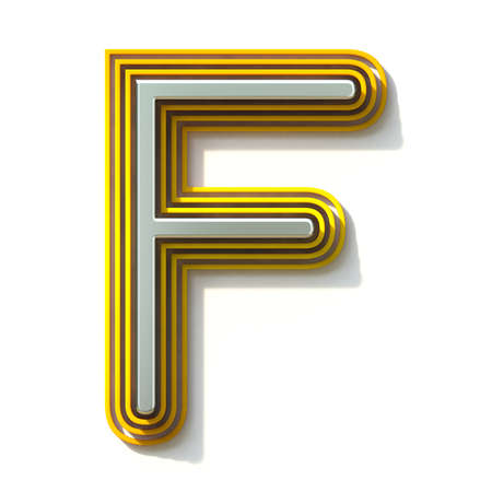 Yellow outlined font letter F 3D render illustration isolated on white background Stock Illustration - 131711312
