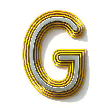 Yellow outlined font letter G 3D render illustration isolated on white background Stock Photo