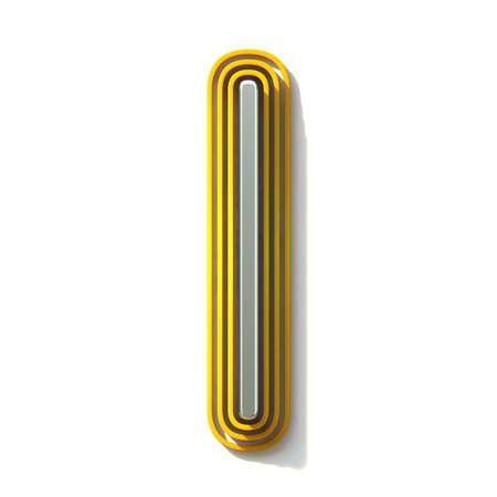 Yellow outlined font letter I 3D render illustration isolated on white background Banco de Imagens