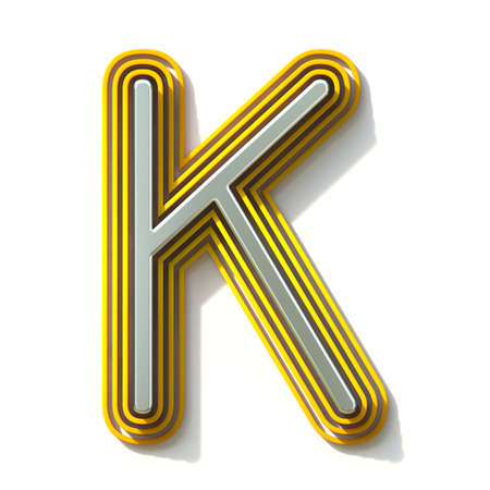 Yellow outlined font letter K 3D render illustration isolated on white background