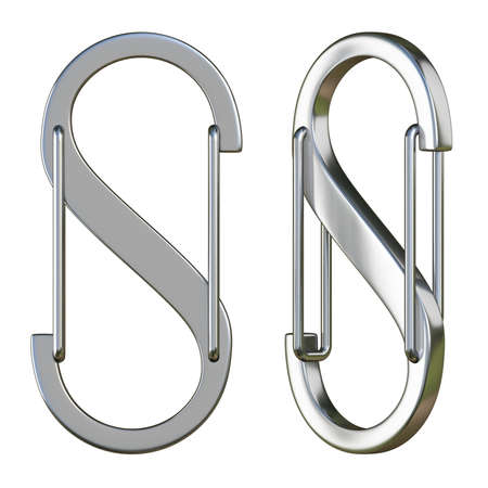 Steel S carabiner front and side view 3D rendering illustration isolated on white background