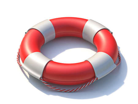 Lifeguard lifebuoy 3D rendering illustration isolated on white background Фото со стока
