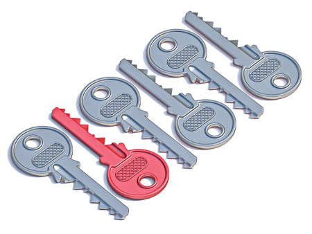 Door keys with red one 3D render illustration isolated on white background