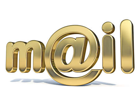 Golden word MAIL with at sign 3D rendering illustration isolated on white background Stok Fotoğraf