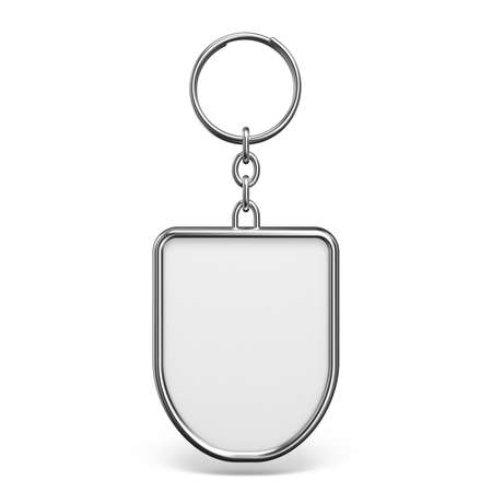 Blank metal trinket with a ring for a key rhombus shape 3D rendering illustration isolated on white background