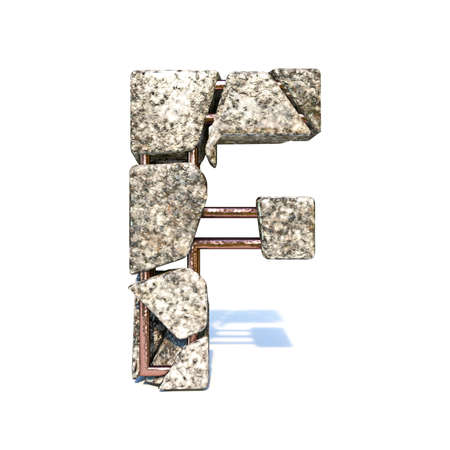 Concrete fracture font Letter F 3D render illustration isolated on white background