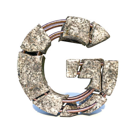 Concrete fracture font Letter G 3D render illustration isolated on white background
