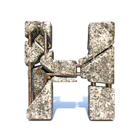Concrete fracture font Letter H 3D render illustration isolated on white background