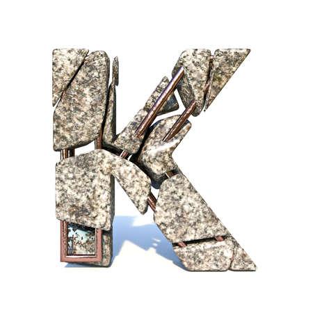 Concrete fracture font Letter K 3D render illustration isolated on white background Reklamní fotografie