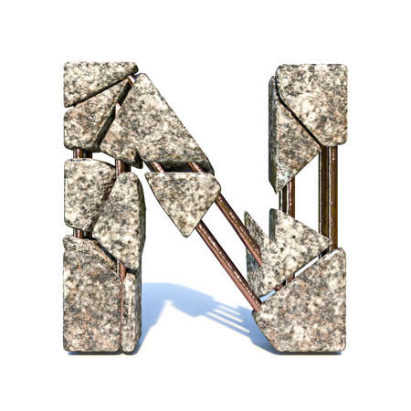 Concrete fracture font Letter N 3D render illustration isolated on white background Reklamní fotografie