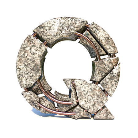 Concrete fracture font Letter Q 3D render illustration isolated on white background Reklamní fotografie