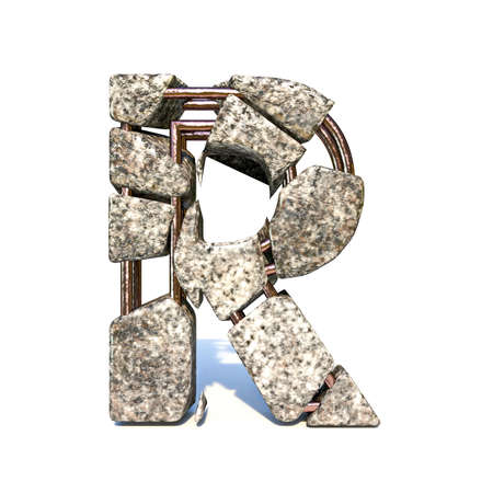 Concrete fracture font Letter R 3D render illustration isolated on white background