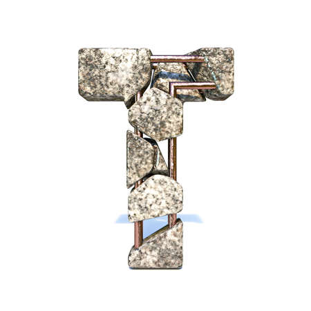Concrete fracture font Letter T 3D render illustration isolated on white background