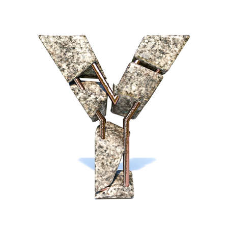 Concrete fracture font Letter Y 3D render illustration isolated on white background Reklamní fotografie