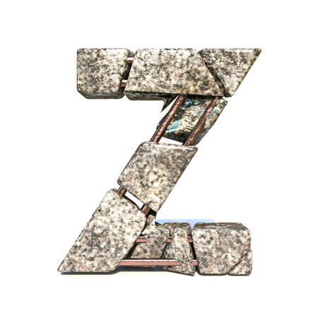 Concrete fracture font Letter Z 3D render illustration isolated on white background