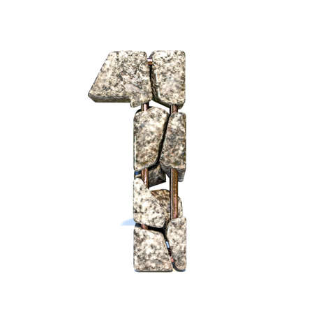 Concrete fracture font Number 1 ONE 3D render illustration isolated on white background
