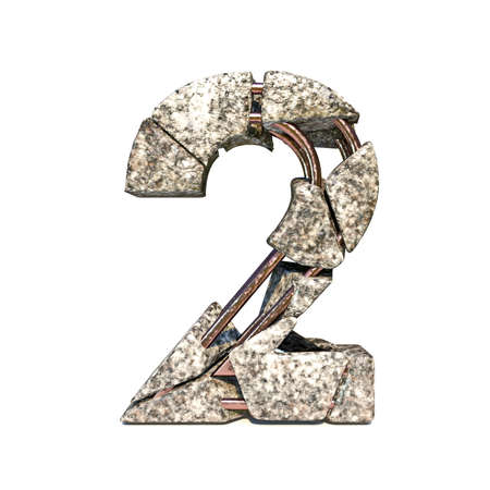 Concrete fracture font Number 2 TWO 3D render illustration isolated on white background