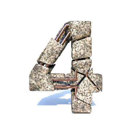 Concrete fracture font Number 4 FOUR 3D render illustration isolated on white background Reklamní fotografie