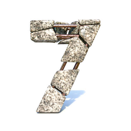 Concrete fracture font Number 7 SEVEN 3D render illustration isolated on white background Reklamní fotografie