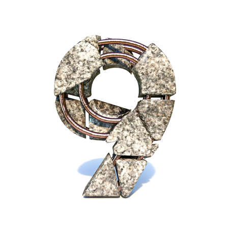 Concrete fracture font Number 9 NINE 3D render illustration isolated on white background