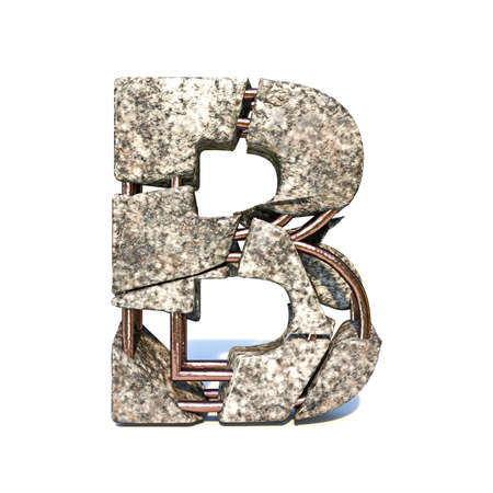 Concrete fracture font Letter B 3D render illustration isolated on white background
