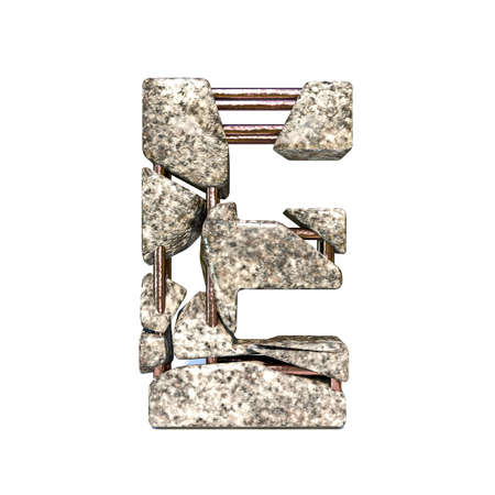 Concrete fracture font Letter E 3D render illustration isolated on white background