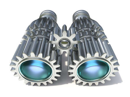 Metal binocular made of cog wheels 3D render illustration isolated on white background